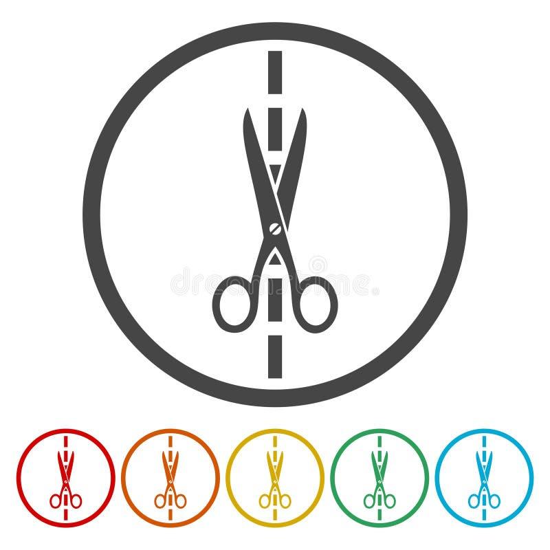 Icone di forbici messe royalty illustrazione gratis