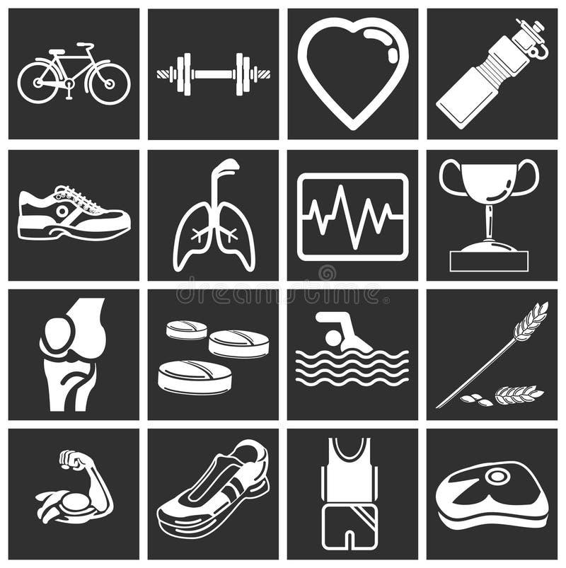 Icone di forma fisica e di salute illustrazione vettoriale