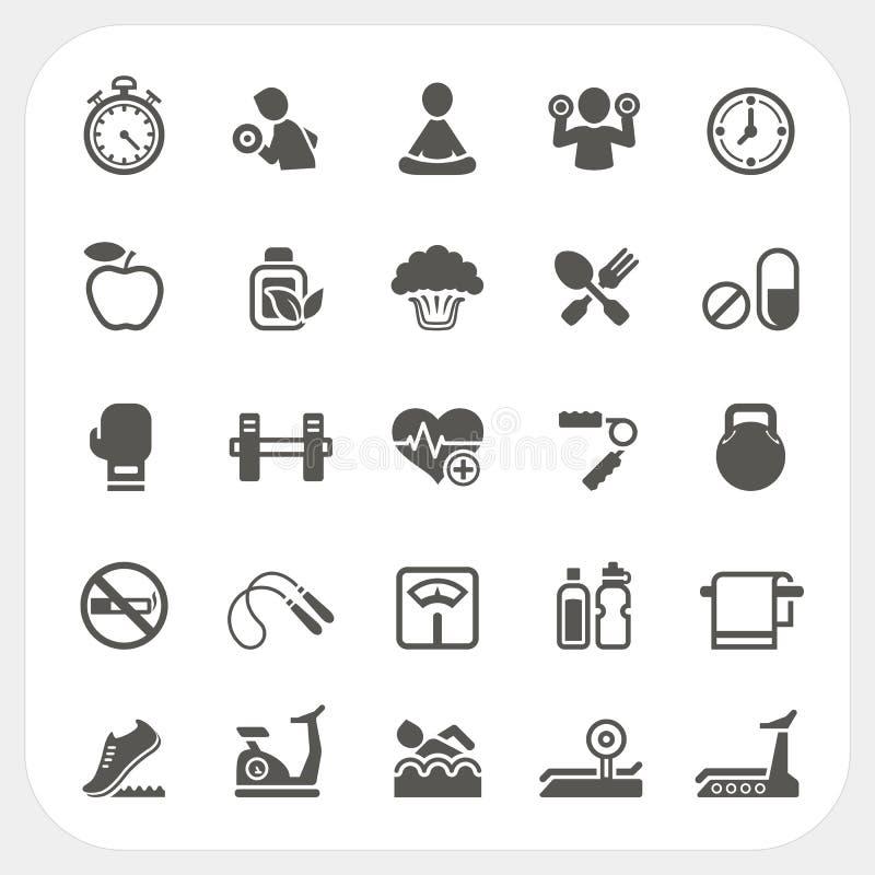 Icone di forma fisica e di salute messe illustrazione vettoriale