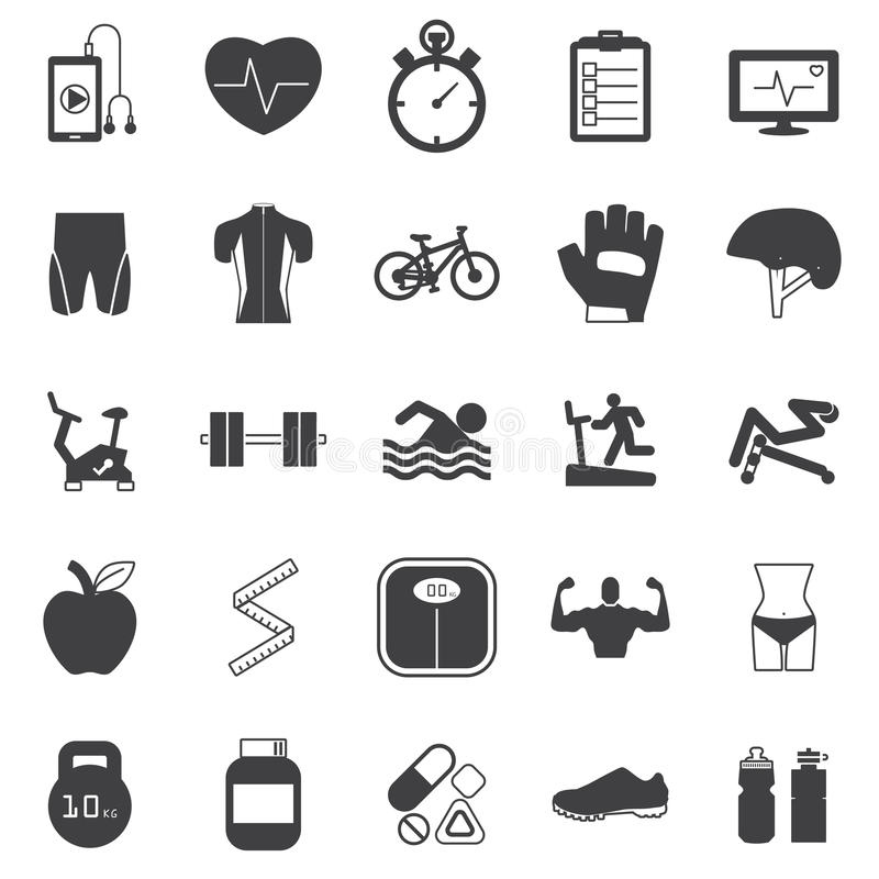 Icone di forma fisica impostate illustrazione vettoriale