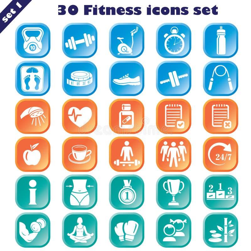 Icone di forma fisica impostate fotografie stock