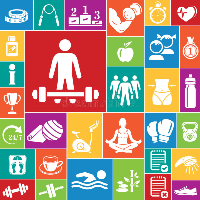 Icone di forma fisica messe (colore) immagine stock libera da diritti