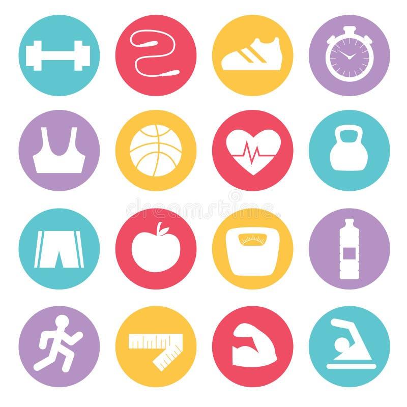 Icone di forma fisica messe nella progettazione piana, illustrazione di stock