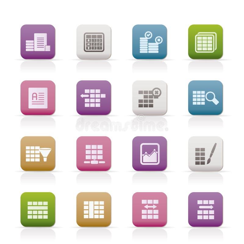 Icone di formattazione della Tabella e della base di dati illustrazione di stock