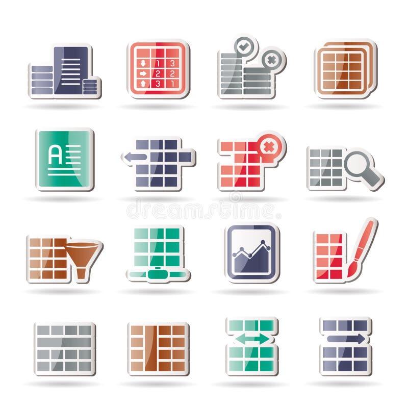Icone di formattazione della Tabella e della base di dati illustrazione vettoriale