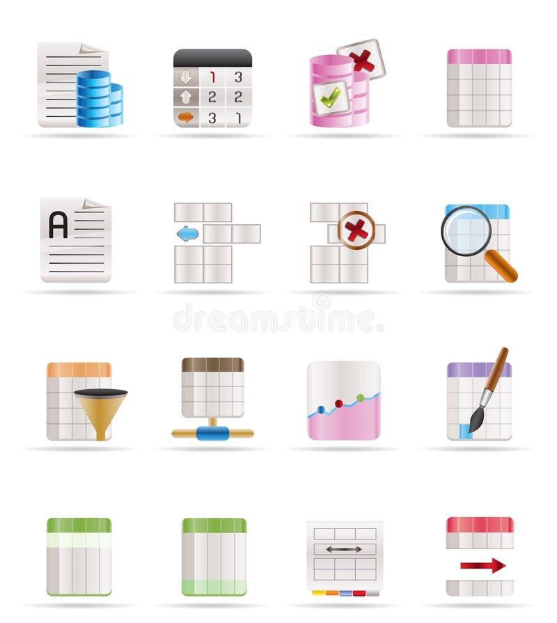 Icone di formattazione della Tabella e della base di dati royalty illustrazione gratis