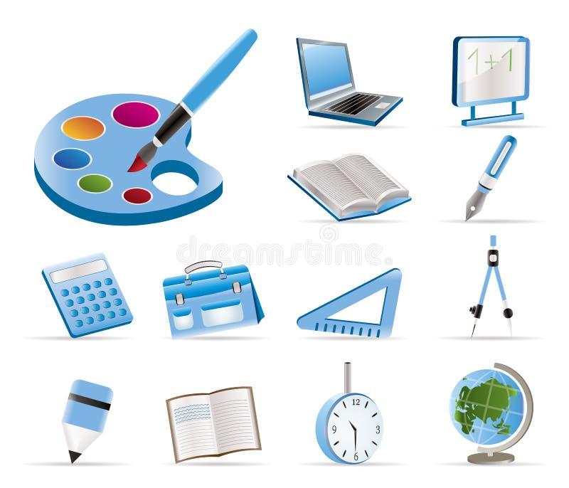 Icone di formazione e del banco illustrazione vettoriale