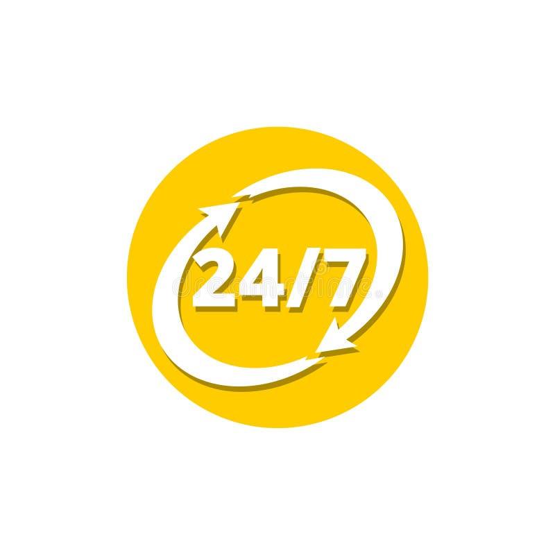 24 icone di 7 frecce, servizio clienti, consegna e 24 ore illustrazione di stock