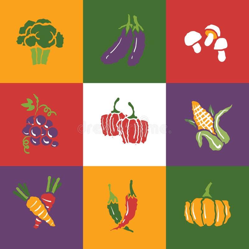 Icone di frutta e delle verdure messe e segni fotografie stock libere da diritti