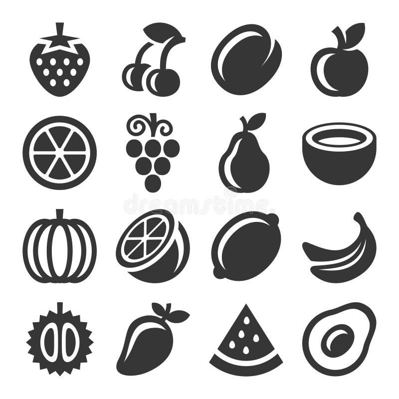 Icone di frutti messe su fondo bianco Vettore royalty illustrazione gratis