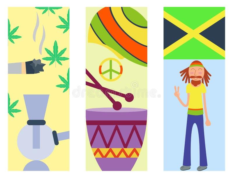 Icone di ganja di pace della cannabis di Rastafarian messe royalty illustrazione gratis