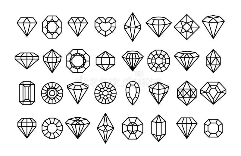 Icone di Gemstone in uno stile minimo lineare Diamanti vettoriali e gemme elementi di progettazione del logo lineare illustrazione di stock