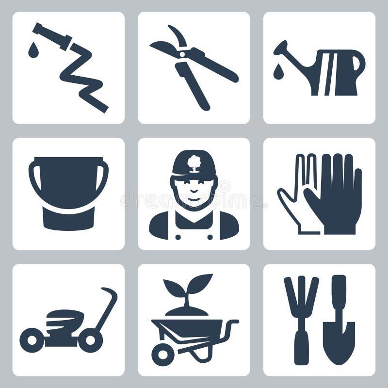 Icone di giardinaggio di vettore messe illustrazione vettoriale