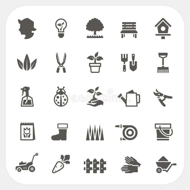 Icone di giardinaggio messe illustrazione di stock