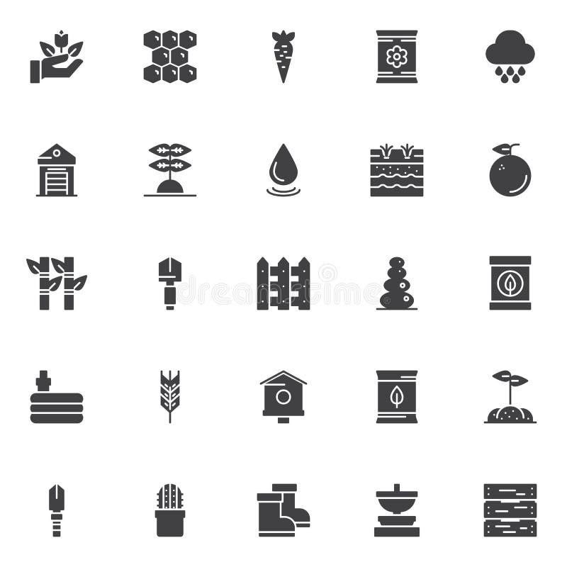 Icone di giardinaggio di vettore degli elementi messe illustrazione di stock