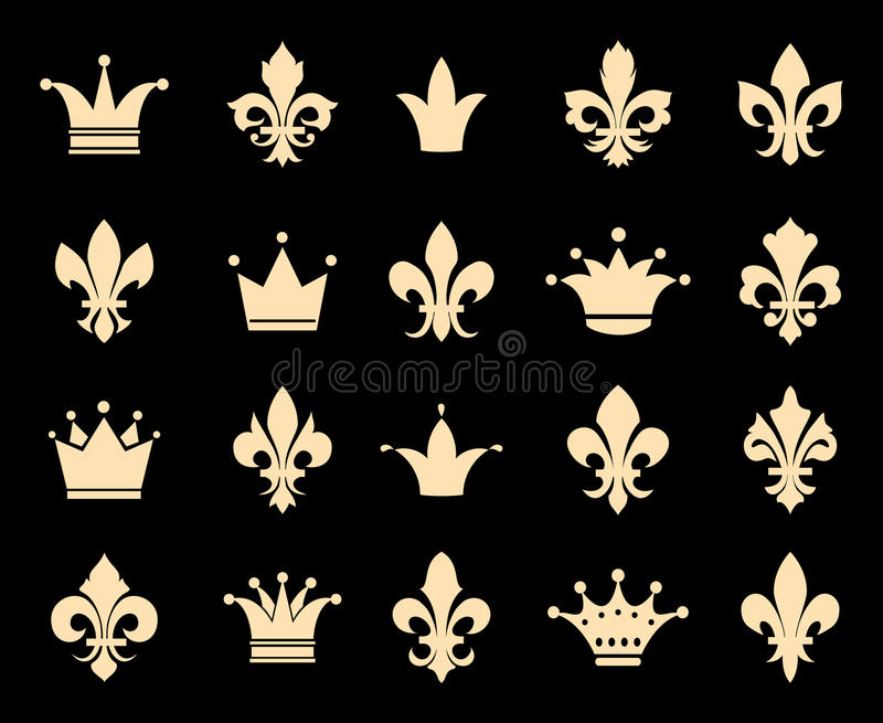 Icone di giglio araldico e della corona illustrazione di stock