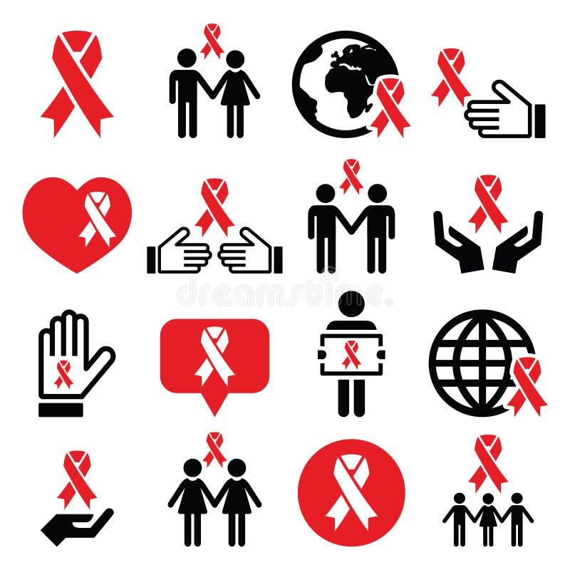 Icone di Giornata mondiale contro l'AIDS messe - simbolo rosso del nastro illustrazione di stock