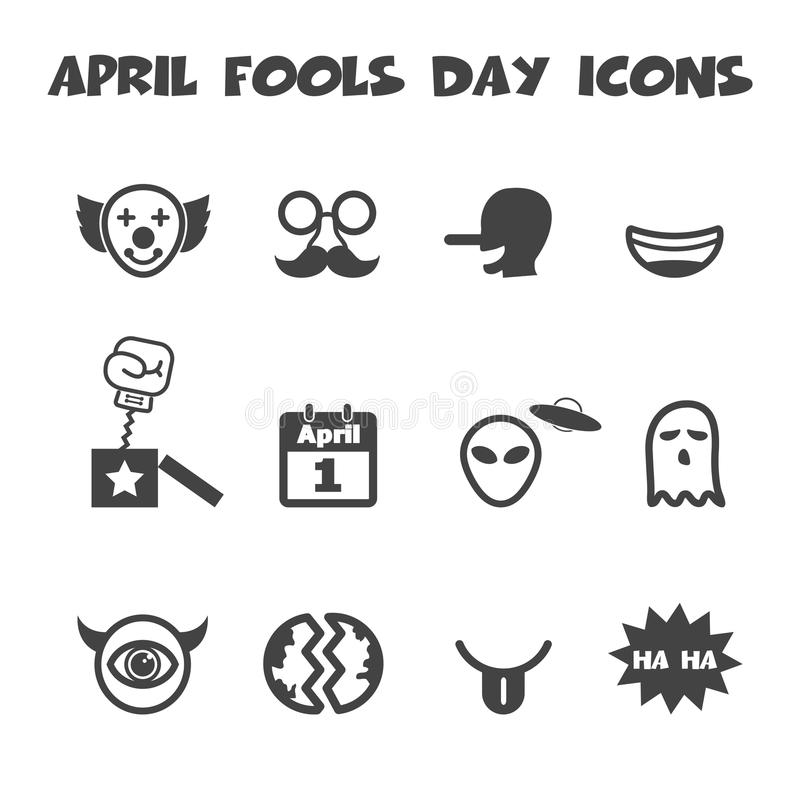 Icone di giorno dei pesci d'aprile illustrazione di stock