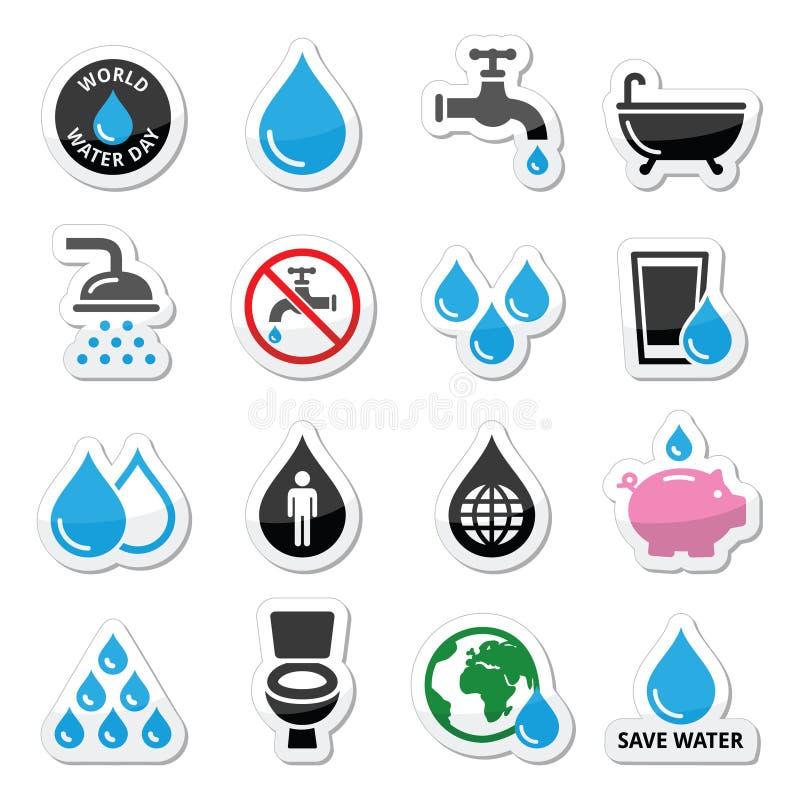 Icone di giorno dell'acqua del mondo - ecologia, concetto verde illustrazione di stock