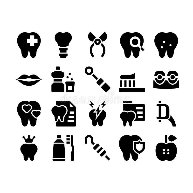 Icone di glifo di cure odontoiatriche royalty illustrazione gratis