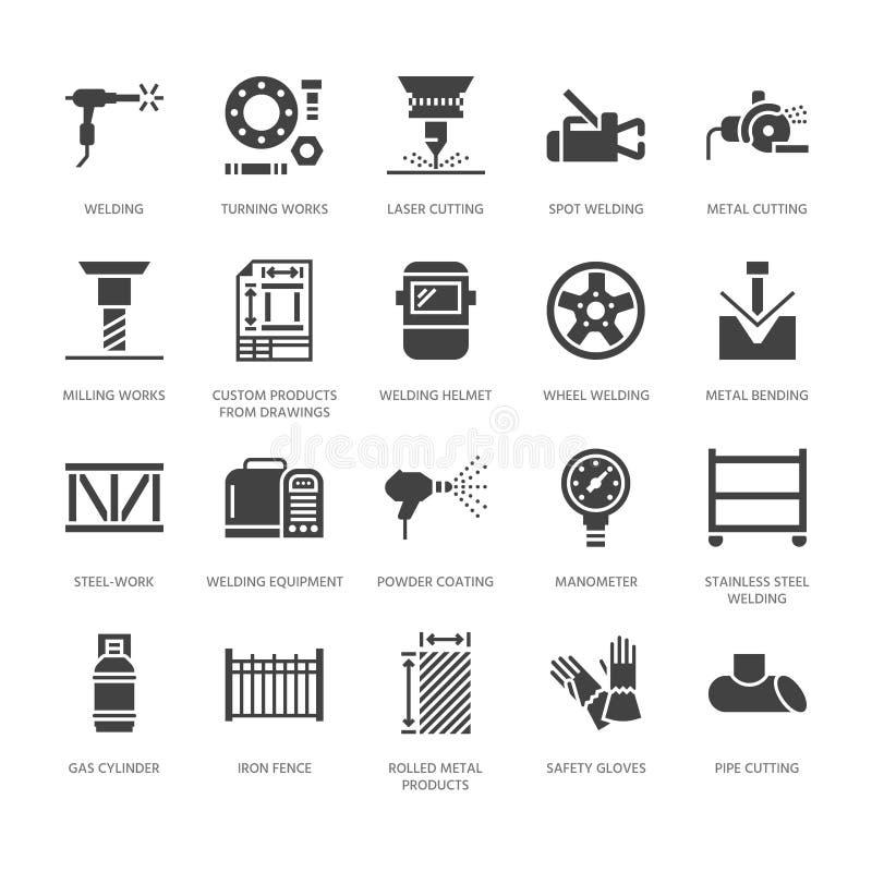 Icone di glifo del piano di servizi della saldatura Prodotti metallici rotolati, acciaieria, taglio del laser dell'acciaio inossi illustrazione di stock