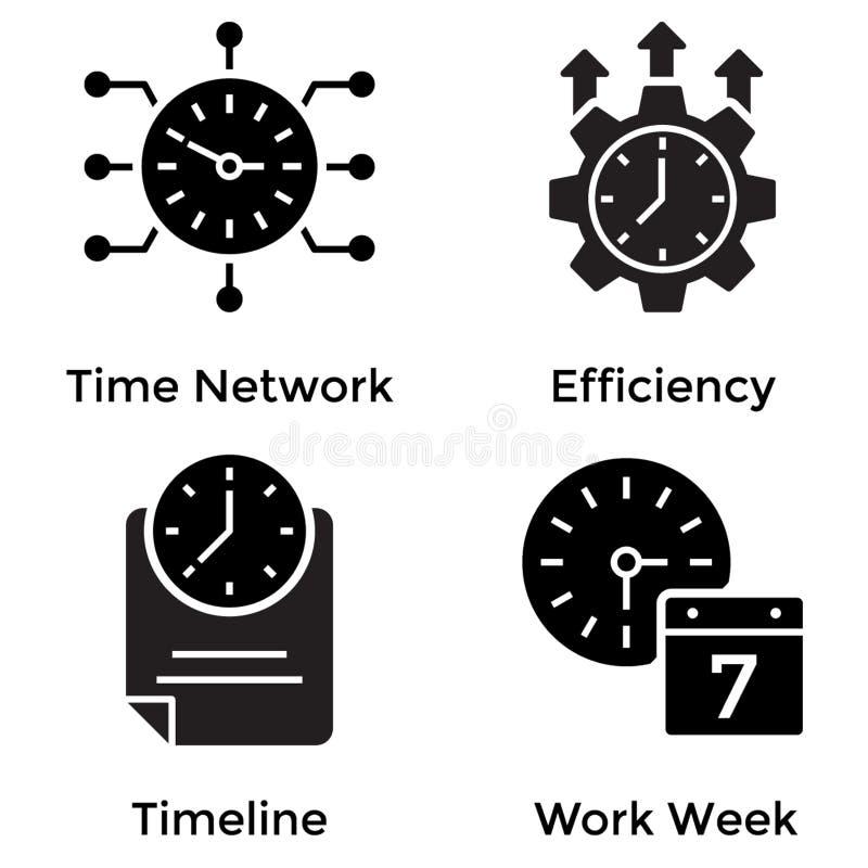 Icone di glifo dell'orologio royalty illustrazione gratis