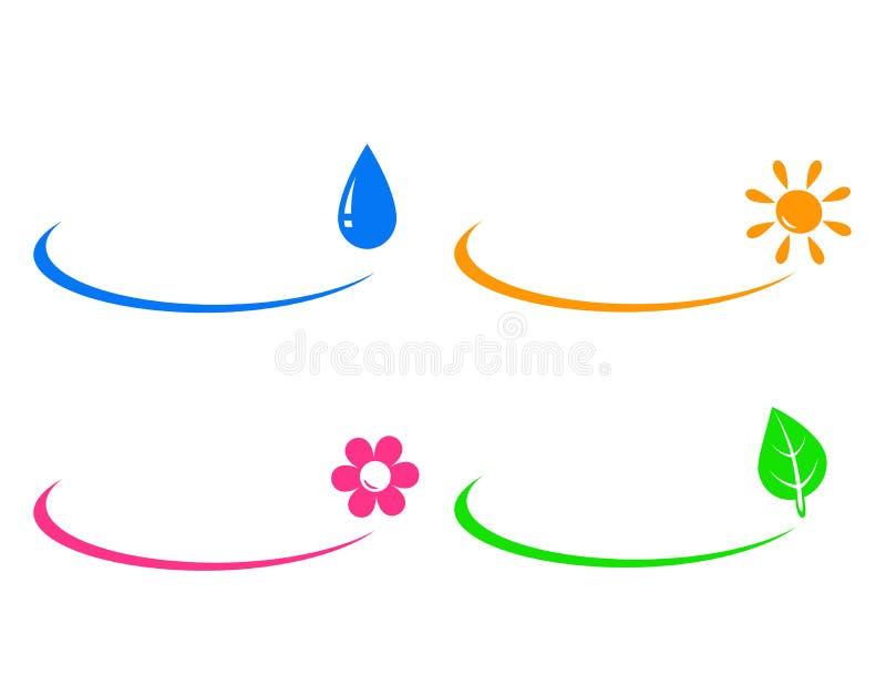 Icone di goccia di acqua, del sole, del fiore e della foglia verde illustrazione vettoriale