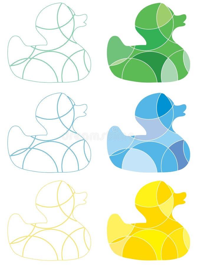Icone di gomma dell'anatra illustrazione di stock