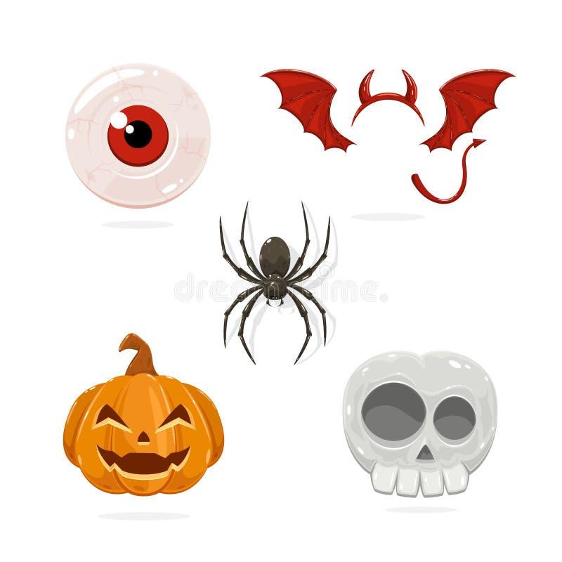 Icone di Halloween del fumetto royalty illustrazione gratis