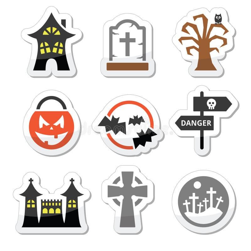 Icone di Halloween impostate illustrazione di stock