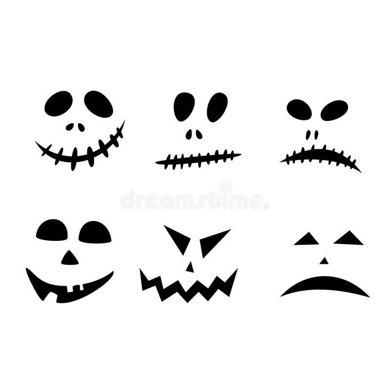 Icone di Halloween: l'icona monocromatica sottile ha messo, corredo in bianco e nero Fronte terrificante e divertente della presa royalty illustrazione gratis