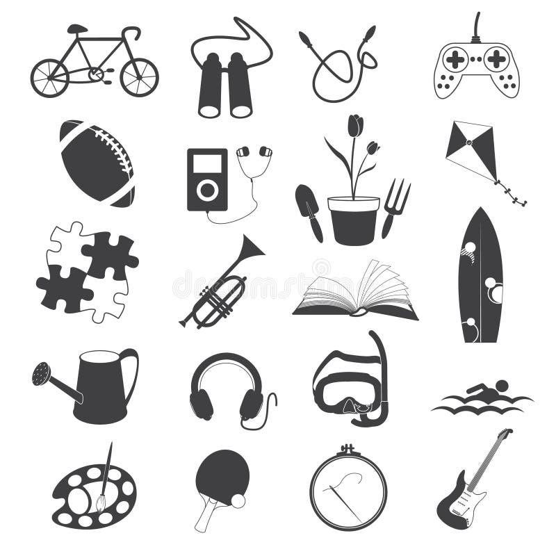 Icone di hobby isolate su fondo bianco illustrazione vettoriale