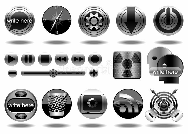 Icone di icona-Illustrazione-vettore del metallo immagine stock libera da diritti