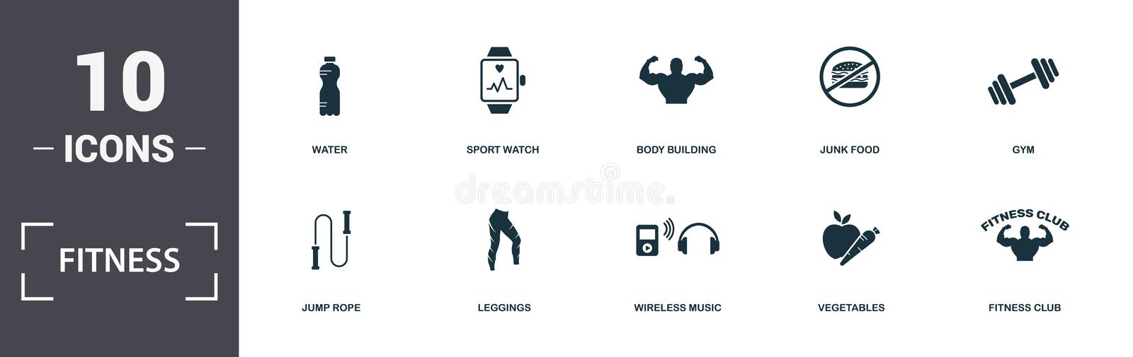Icone di idoneità set insieme Comprende elementi semplici come Acqua, Sport Watch, Body Building, Junk Food, Gym, Leggings e illustrazione vettoriale