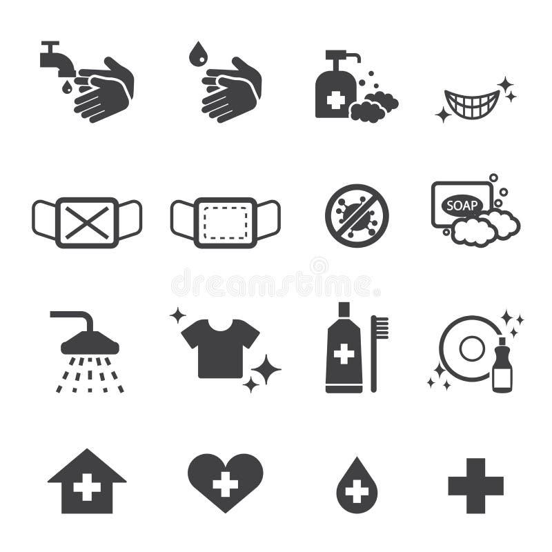 Icone di igiene messe royalty illustrazione gratis