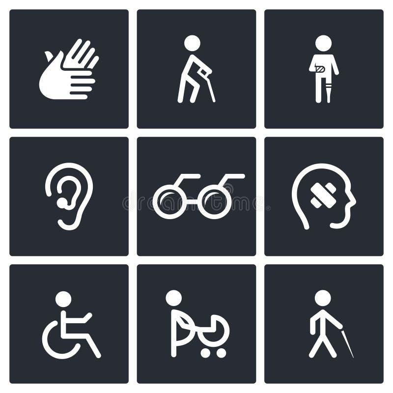 Icone di inabilità messe illustrazione di stock