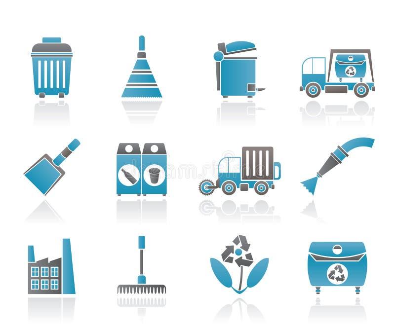 Icone di industria e dell'ambiente di pulizia illustrazione di stock
