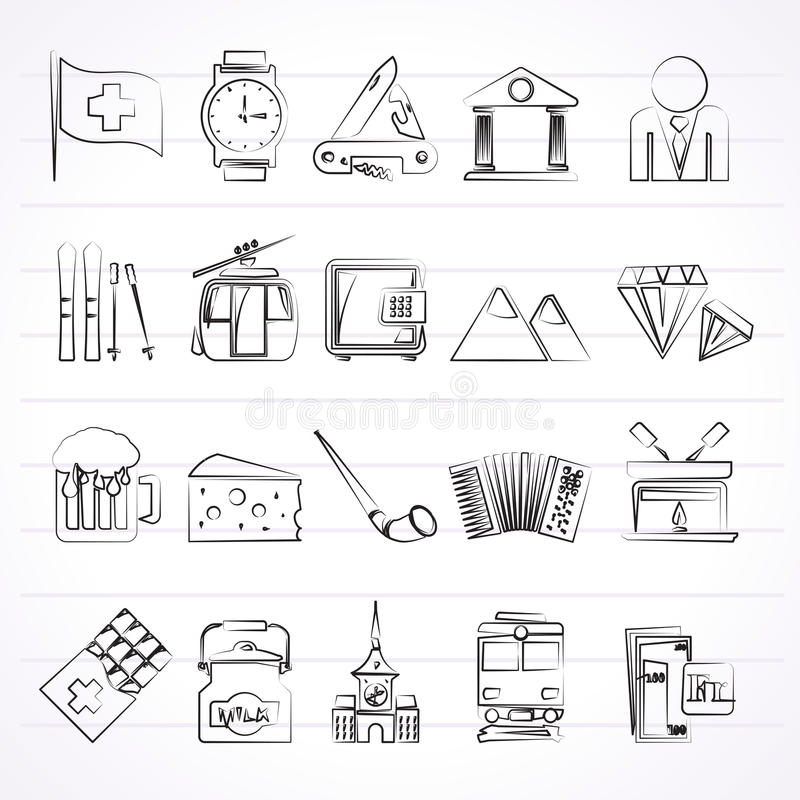 Icone di industria e della cultura della Svizzera royalty illustrazione gratis