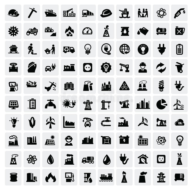 Icone di industria impostate fotografie stock