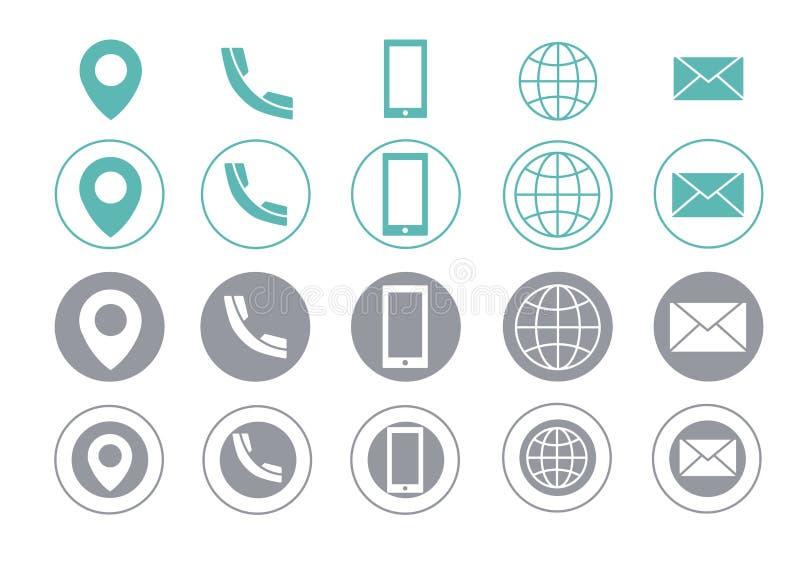 Icone di informazioni di contatto del biglietto da visita di vettore royalty illustrazione gratis