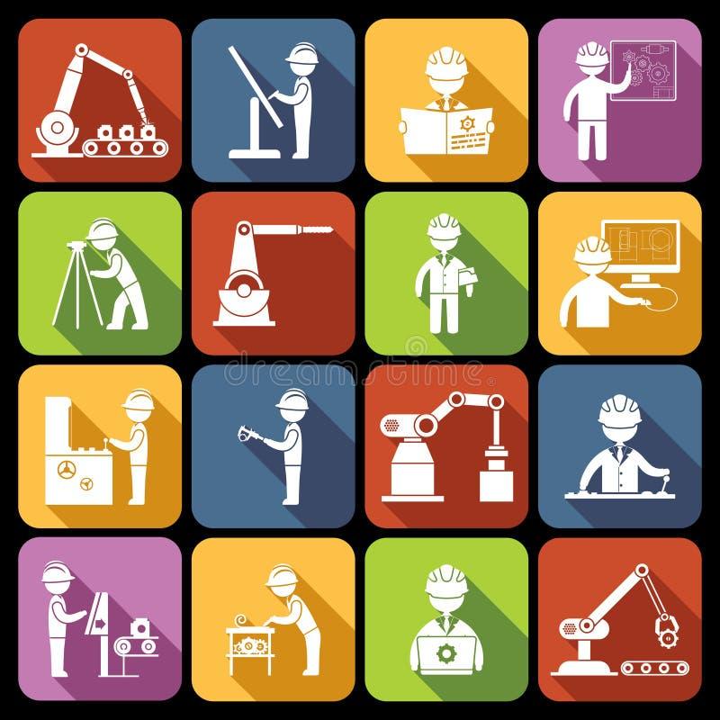 Icone di ingegneria bianche royalty illustrazione gratis