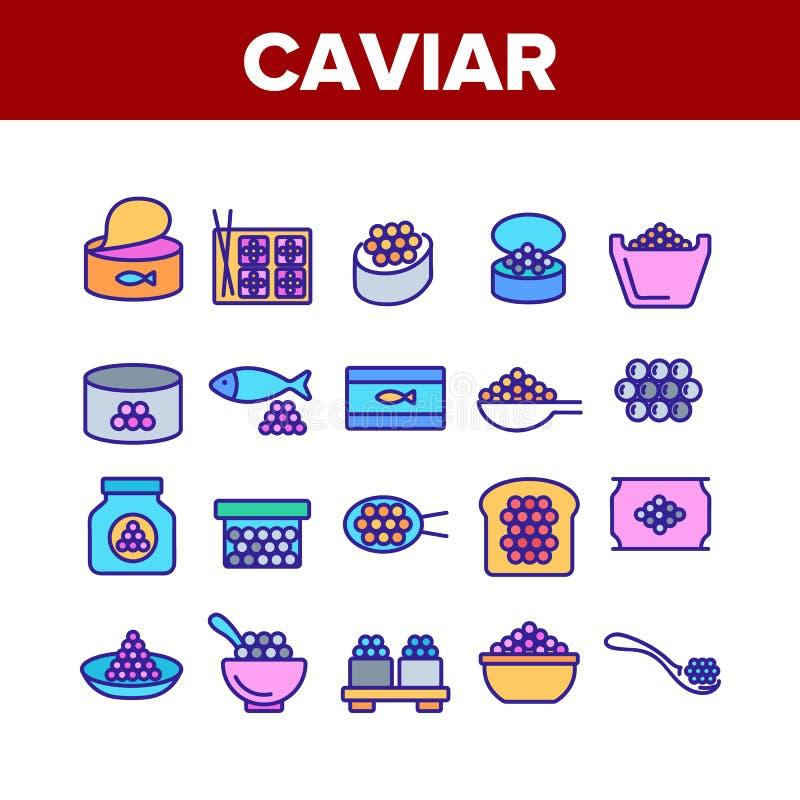 Icone di insieme Caviale Tasty Seafood Set Vector illustrazione di stock