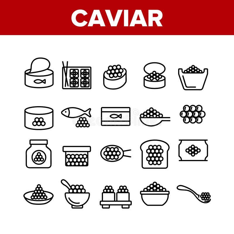 Icone di insieme Caviale Tasty Seafood Set Vector royalty illustrazione gratis