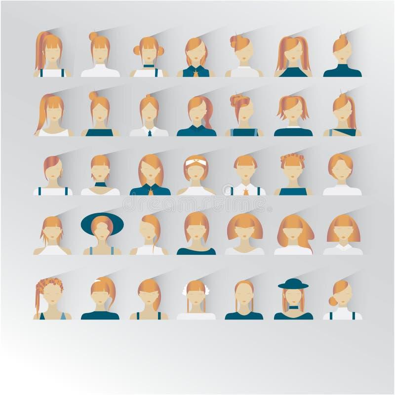 35 icone di interfase di uso con le giovani signore Colore rosso biondo dei capelli royalty illustrazione gratis