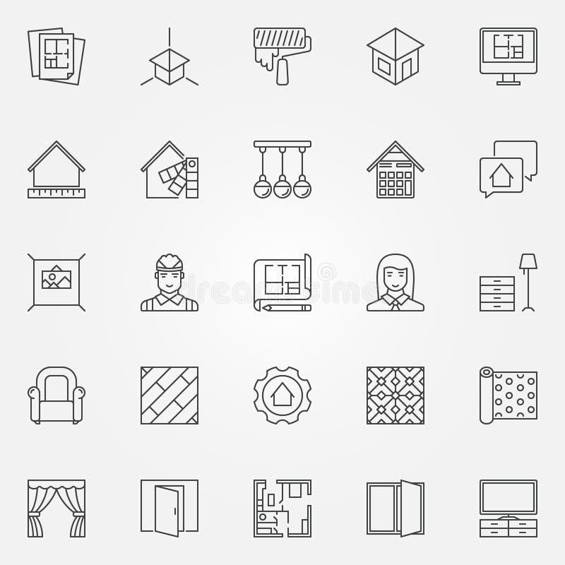 Icone di interior design messe royalty illustrazione gratis