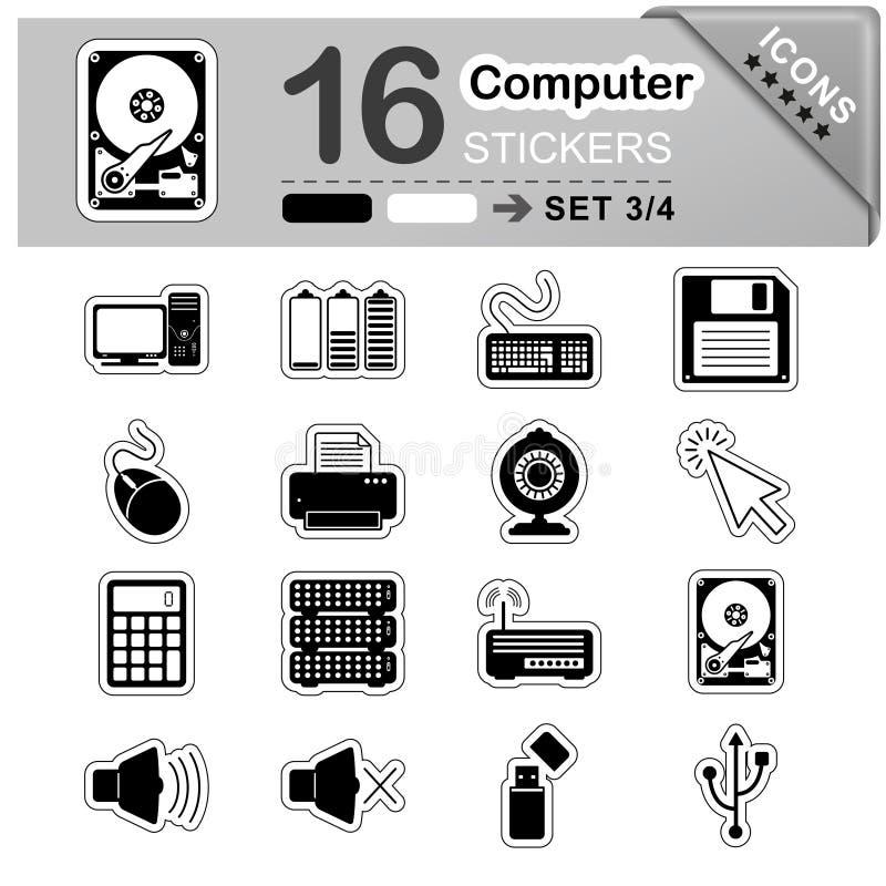 16 icone di Internet e del computer - autoadesivi - simboli royalty illustrazione gratis