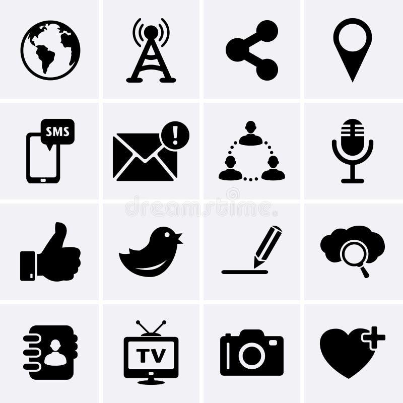 Icone di Internet e della rete sociale illustrazione di stock