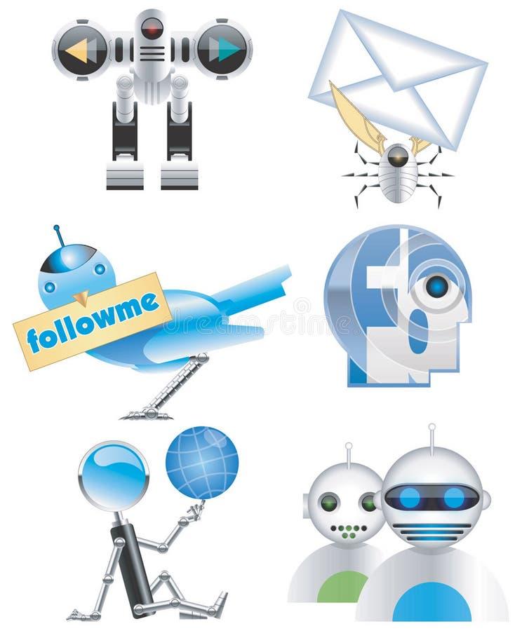Icone di Internet-Illustrazione-vettore dei robot immagine stock