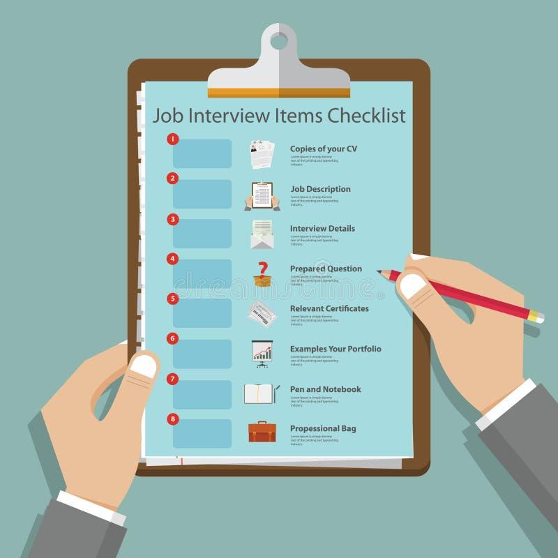 Icone di intervista di lavoro nella progettazione piana sulla lavagna per appunti Preparazione di intervista di lavoro infographi illustrazione vettoriale