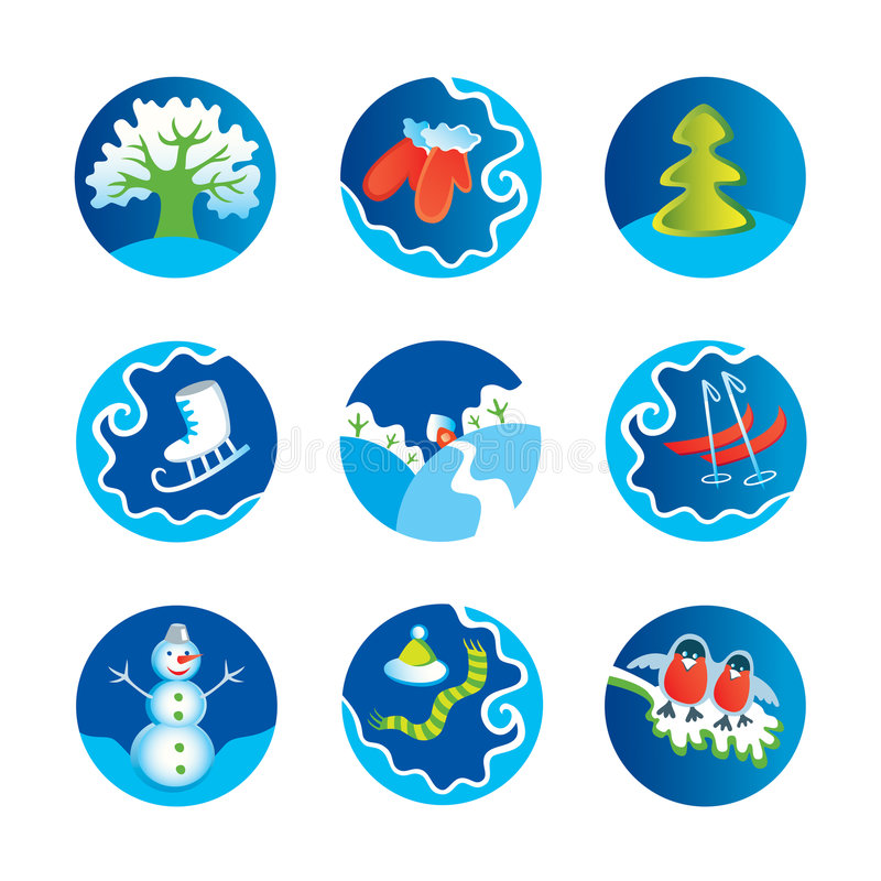 Icone di inverno illustrazione di stock
